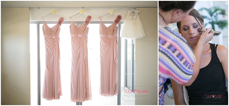 Bridesmaid dresses hanging up and getting ready.