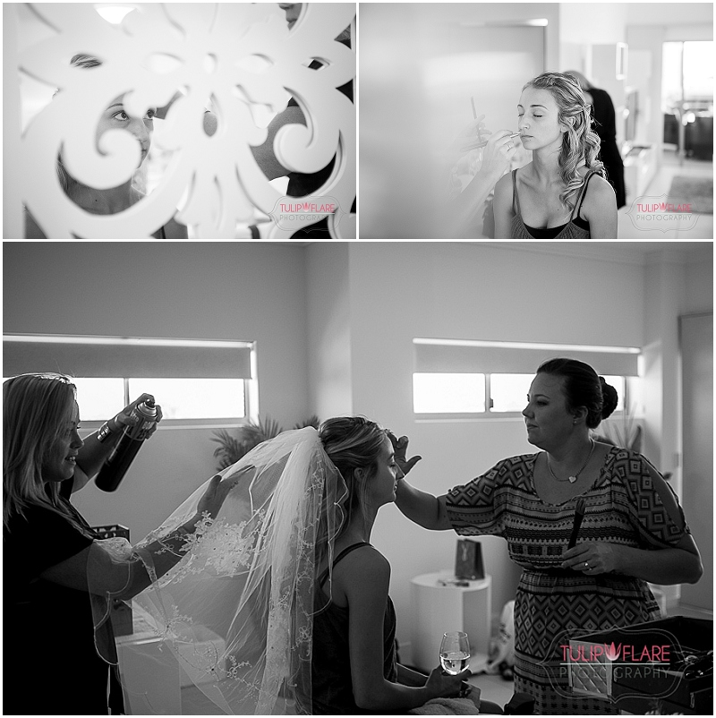 The bride getting ready for her wedding/