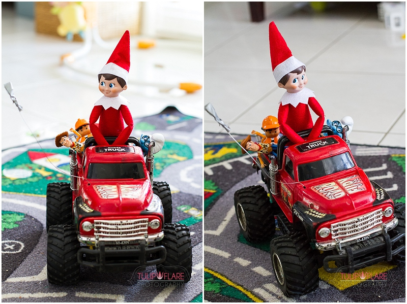 Elf on the Shelf driving a car
