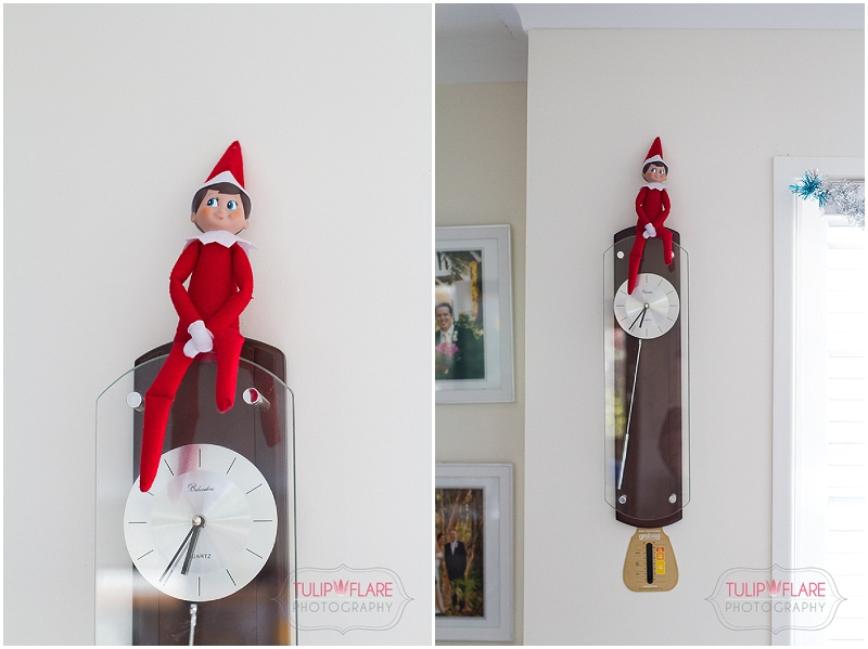 Elf on the Shelf on the clock