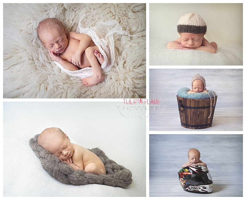 Composite photo of a baby in a motorcycle helmet. Also has various photos from the newborn baby photo session.