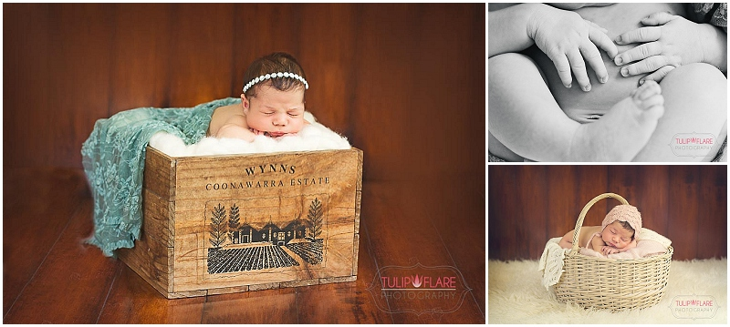Newborn Baby in a wine box